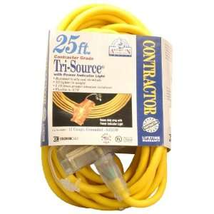 12/3 Wire Gauge Tri Source SJEOW Outdoor Vinyl Extension Cord, 25 Feet