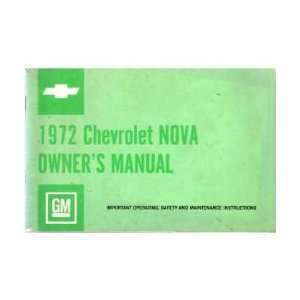 1972 CHEVROLET NOVA Owners Manual User Guide Automotive