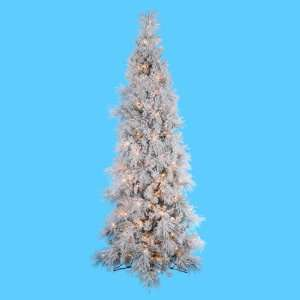 Lit Frosted Glacier Fir Artificial Half Christmas Tree   Clear Lights