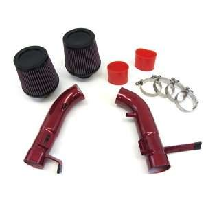 09 10 11 NISSAN 370Z NISMO 3.7L V6 Dual Short Ram Air Intake Red Pipes