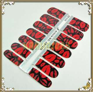 Ultra Thin Nail Art Polish Skin Foil Wrap Sticker BLACK RED LIP PRINT