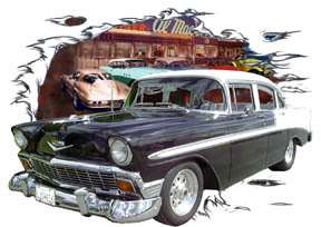 You are bidding on 1 1956 Black Chevy Bel Air 4 door Custom Hot