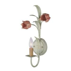 Sage and Rose Wrought Iron Wall Sconce