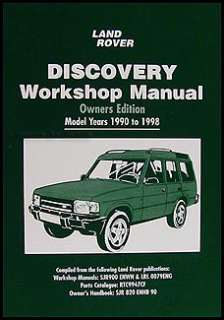 Land Rover Discovery Owners Shop Manual 1998 1997 1996 1995 1994 1993