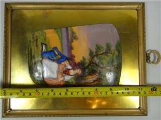 FRENCH ANTIQUE PAINTING ENAMEL METAL FLIRT RUSSIAN ART