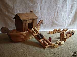 Noahs Ark, Amish Handmade Wooden Toy Animals and Boat