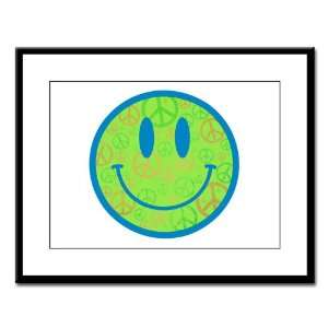 Large Framed Print Smiley Face With Peace Symbols