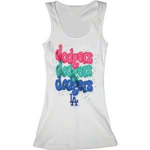 Los Angeles Dodgers White Girls Ribbed Tank Top Sports