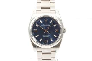 Original Rolex Mens Stainless Steel Air King Blue Dial 114200 M