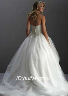 Custom White Voile Tulle Bridal Wedding Prom Dress Gown