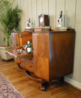 Antique Pop Open Art Deco BAR wine LIQUOR CABINET~ Old~Signed~Burl