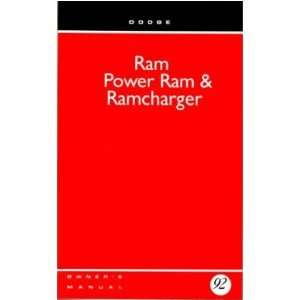 1992 DODGE RAM TRUCK RAMCHARGER Owners Manual Guide