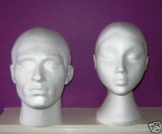 POLYSTYRENE FEMALE DUMMY HEAD DISPLAY WIG HAT STAND