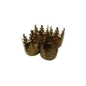Pack of 72 Brass Christmas Tree Pillar Candle Holders