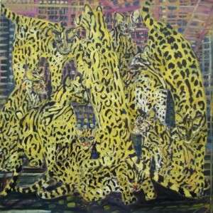 Ocelots, Original Acrylic Painting on Canvas, Hunt Slonem   LARGE