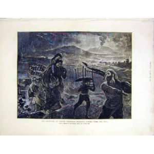Mount Vesuvius Lava Volcano Eruption Old Print 1872