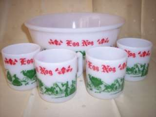 Hazel Atlas Fire King EGG NOG PUNCH BOWL Mugs cups