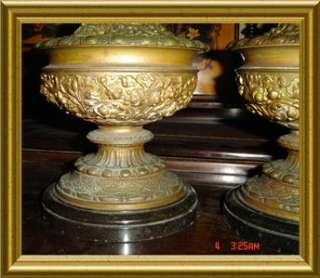 ANTIQUE FRENCH PAIR RENAISSANCE STYLE BRONZE EWERS URN