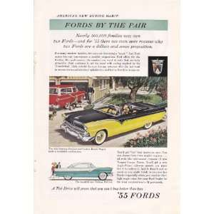 1955 Ad Ford Fairlane Sunliner & Custom Ranch Wagon Original Vintage