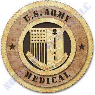 Army Medical Department Crest Birch Wall Plaque