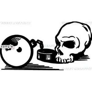 BALL AND CHAIN SKULL 13 WHITE VINYL DECAL STICKER