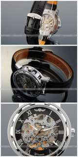 Men Classic Mechanical Skeleton Transparent Dial Leather Band Silver
