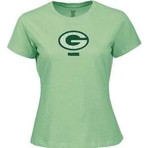 Green Bay Packers Womens Light Green Sequin Logo Tee