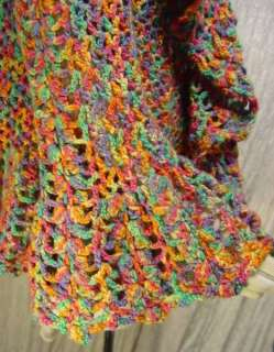 RAINBOW COLORS Crochet Lace BOHO Circle Sweater XL