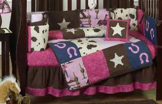 BROWN DESIGNER HORSE WESTERN THEMED COWGIRL BABY GIRL CRIB BEDDING SET