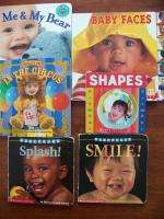 Lot of 6 baby toddler board books faces teddy bears shapes water cute