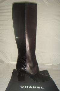 AUTHENTIC NIB CHANEL BLACK LEATHER PATENT KNEE BUTTONS BOOTS 40