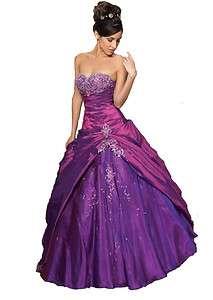 New Purple Formal Prom Ball Gown Party Evening Dress Stock Size 6 8 10