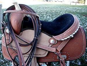 oil leather ROUGHT OUT Western Horse Show Barrel Saddle Bridle BP Pk