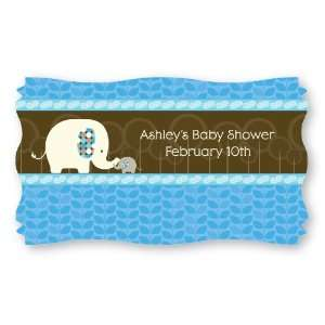 Blue Baby Elephant   Set of 8 Personalized Baby Shower Name