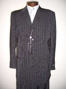 MENS SB BLACK STRIPED DRESS SUIT SIZE 44R NEW SUITS