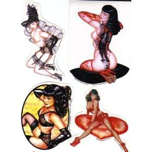 Bettie Page Stickers By Olivia Set of 4
