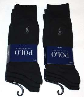 POLO RALPH LAUREN mens dress socks 6 pairs SOLID BLACK