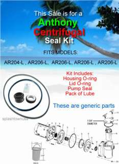 ANTHONY CENTRIFUGAL Pool Pump Seal & O ring Repalcement Kit w/lube