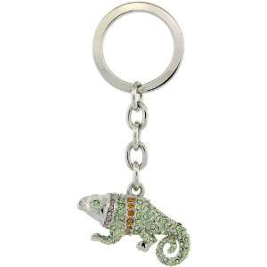 Palladium plated Swarovski Crystal Jeweled Iguana Key Chain, Key Ring