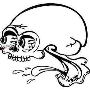 SPITTING SKULL WITH EYES POPPING OUT SKULL WHITE VINYL DECAL STICKER