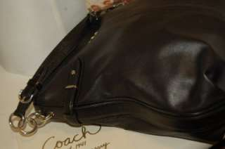 Coach Colette Large Black Leather Shoulder Bag Hobo Python Print Trim