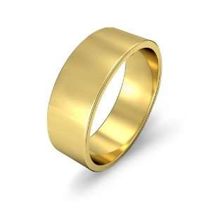 8.6g Mens Flat Wedding Band 7mm 18k Yellow Gold Ring (10