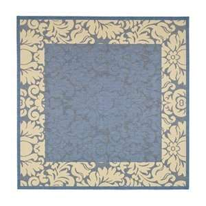 Feet 7 Inch Square Indoor/ Outdoor Square Area Rug, Blue and Natural