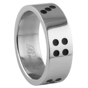 Stainless Steel Ring with Shiny Polish Dice Design   Size 9 Jewelry