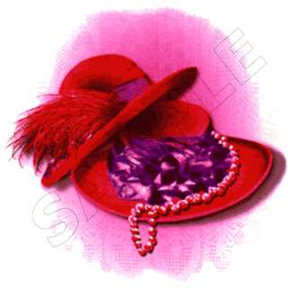 Red Hat Society Edible Cake Topper Decoration Image