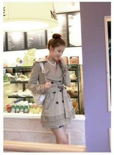 CHIC LAPEL DOUBLE BREASTED COAT PATCHWORK LACE BELT 1440