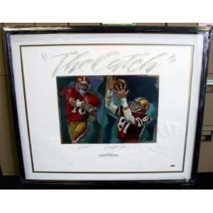 Joe Montana Dwight Clark Signed 25x31 Lithograph UD COA
