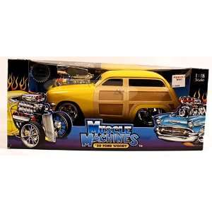 Muscle Machines Die Cast Yellow 50 Ford Woody 118 Scale Car