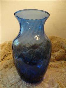 INDIANA GLASS CO. COBALT BLUE ILLUSIONS VINTAGE VASE usa