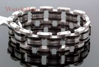 JoJino Mens Stainless Steel & Rubber Chain Link Bracelet   New In Box